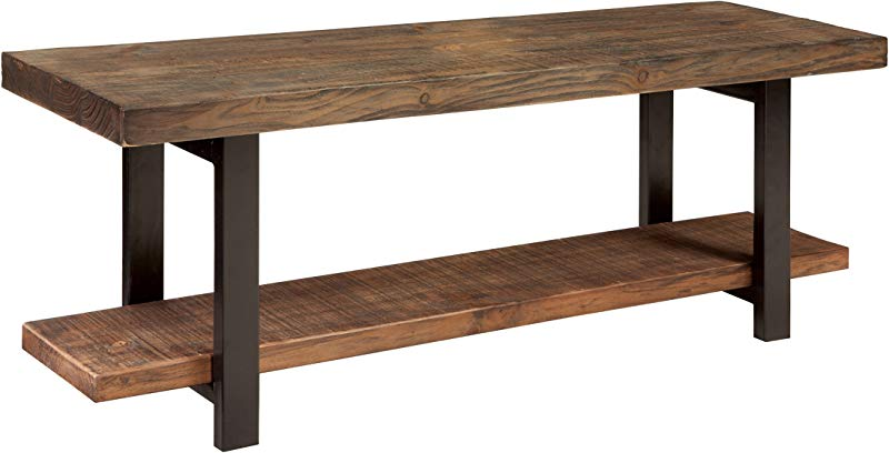 Alaterre Sonoma Reclaimed Wood Bench With Open Shelf Natural Brown AMBA0320