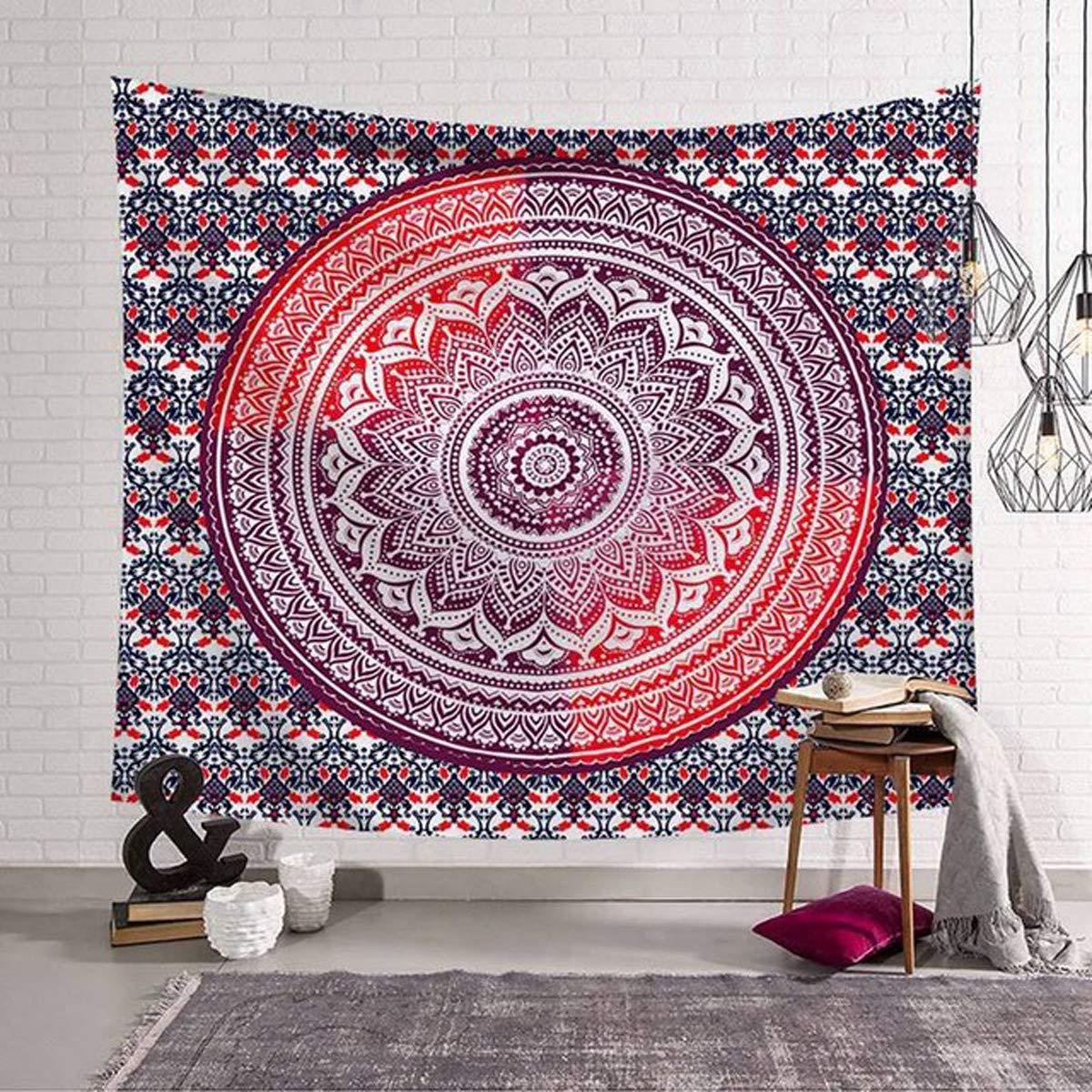 Biancheria da Letto Yoga arazzi Hippie Meditazione raajsee Arazzo Indiano in Cotone Rosso con Mandala copriletto Matrimoniale 210 x 220 cm Boh/émien Spiaggia