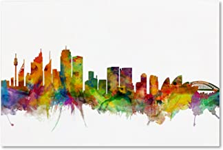 Sydney Australia Skyline by Michael Tompsett, 16x24-Inch Canvas Wall Art