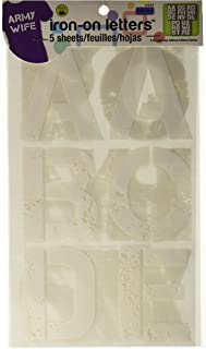 Dritz 15524 Iron-on Letters, Soft Flex, Distressed, 3-Inch, White (5-Sheets)