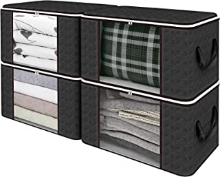 SGHUO Foldable Storage Bag, Large Capacity Clothes Organizers with Clear Window, Sturdy Zipper and Reinforced Handle for C...