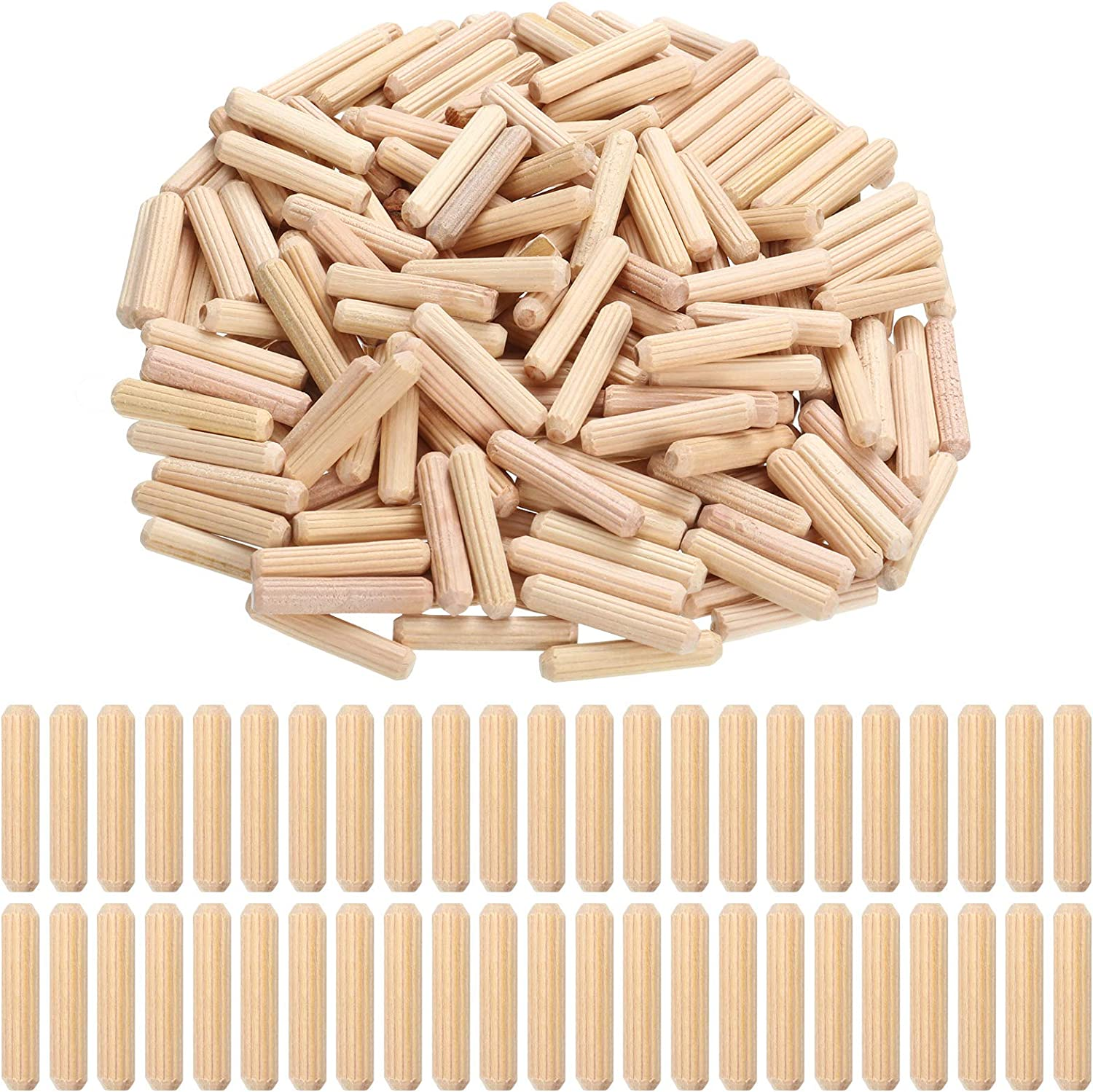 Kansas City Mall Max 46% OFF Yookeer 200 Pieces 1 4 x 1.2 Inch Fluted Dowel Wood Pins Wooden
