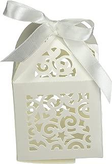 Darice David Tutera Laser Cut Favor Box with Ribbon Tie, Cream, 12 Per Pack Party Supplies, Ivory, 3 Each