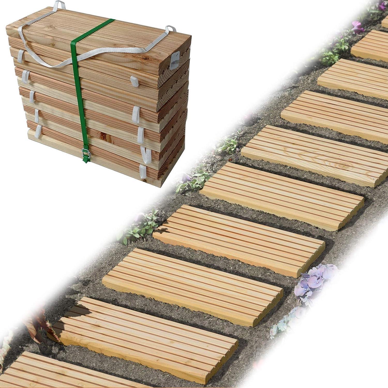 Rollweg Holz 20x20 cm Gartentritte Holz Tritte, Holz Fliesen für den Weg  im Garten von Gartenpirat®