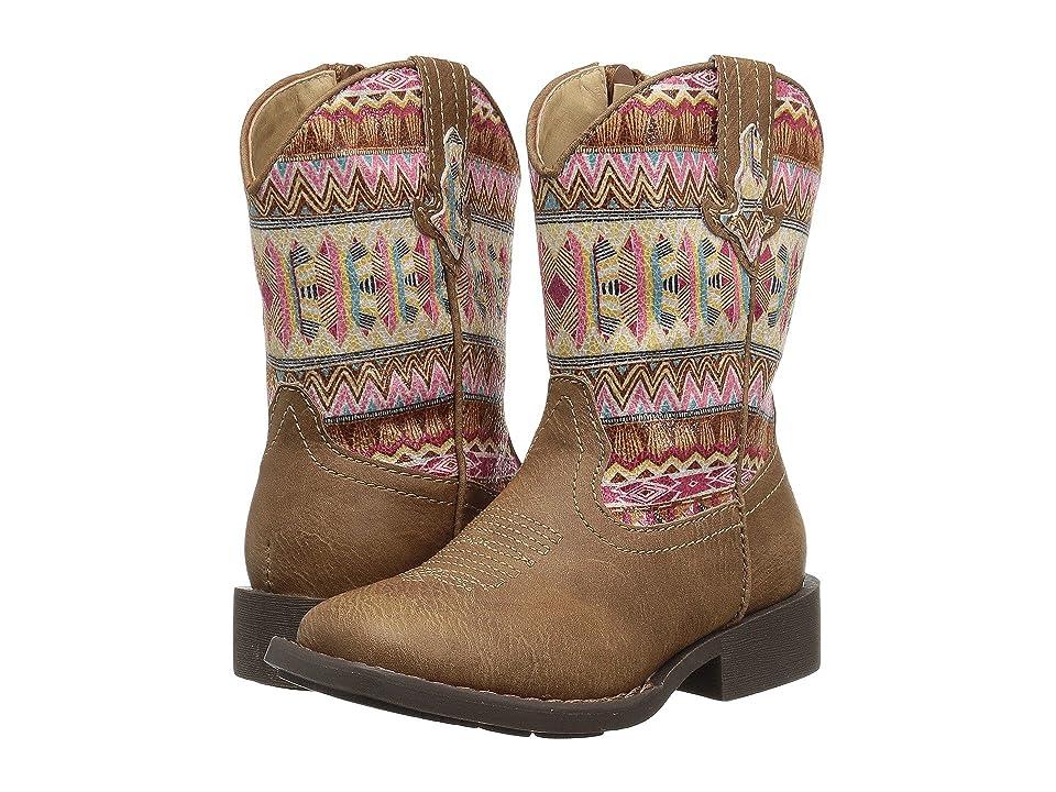Roper Kids Azteca (Toddler) (Tan Faux Leather Vamp/Aztec Printed Shaft) Cowboy Boots