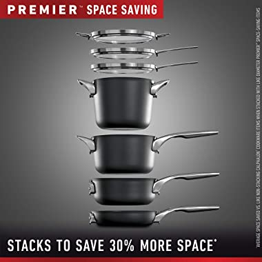 Calphalon Premier Space Saving Pots and Pans Set, 15 Piece Cookware Set, Nonstick