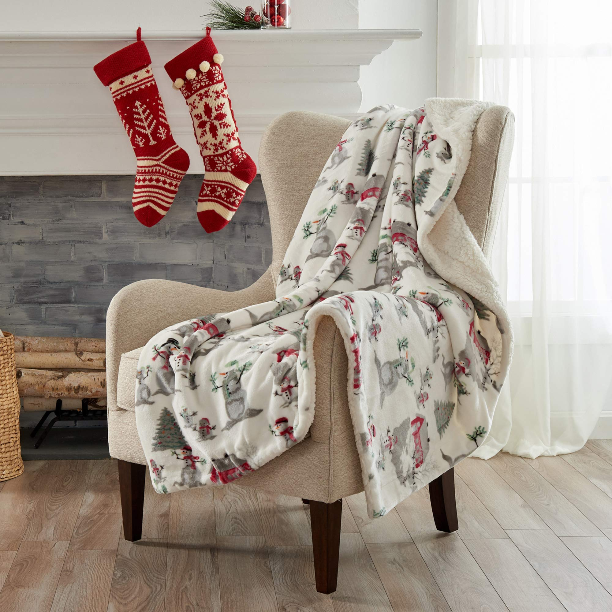 Home Fashion Designs Premium Reversible Two In One Sherpa And Fleece Velvet Plush Blanket Fuzzy Cozy All Season Berber Fleece Throw Blanket Winter Wonderland Buy Online In India Missing Category Value Products In