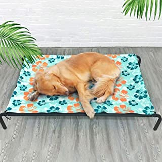 Pet Bed Dog Steel Frame Bed Summer Pet Mat, Specification:Ice Pad+Mesh+Steel Frame, Mesh Size: M 77x60x15cm High Quality