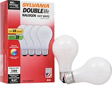SYLVANIA Halogen Lamp Double life / Dimmable Light Bulb A19 / Energy-saving replacement for