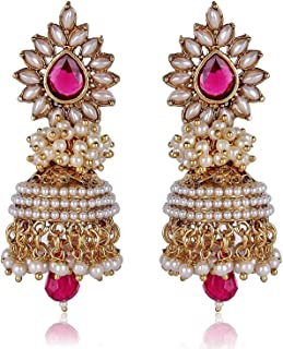 dd575bd2c Shining Diva Bollywood Inspired Traditional Pearl Stylish Fancy Party Wear  Jhumka/Jhumki Earrings For Girls