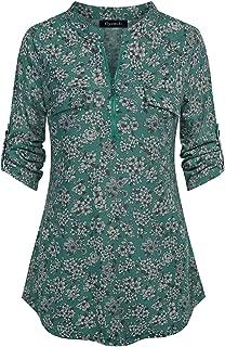 Oyamiki Women's Zip V Neck Plaid Shirt Casual Long Sleeve Blouse Tunic