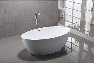 Vanity Art 69-Inch Freestanding Acrylic Bathtub   Modern Stand Alone Soaking Tub with Chrome Finish, UPC Certified, Slotted Overflow & Pop-up Drain - VA6834