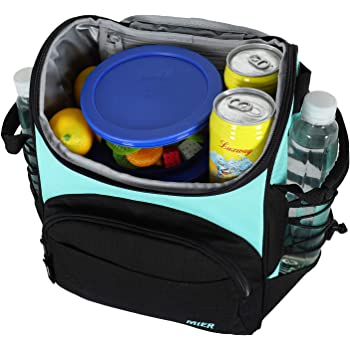 MIER 16 Can Insulated Lunch Box Bag for Women Men Large Leakproof Soft Cooler Bag, Green
