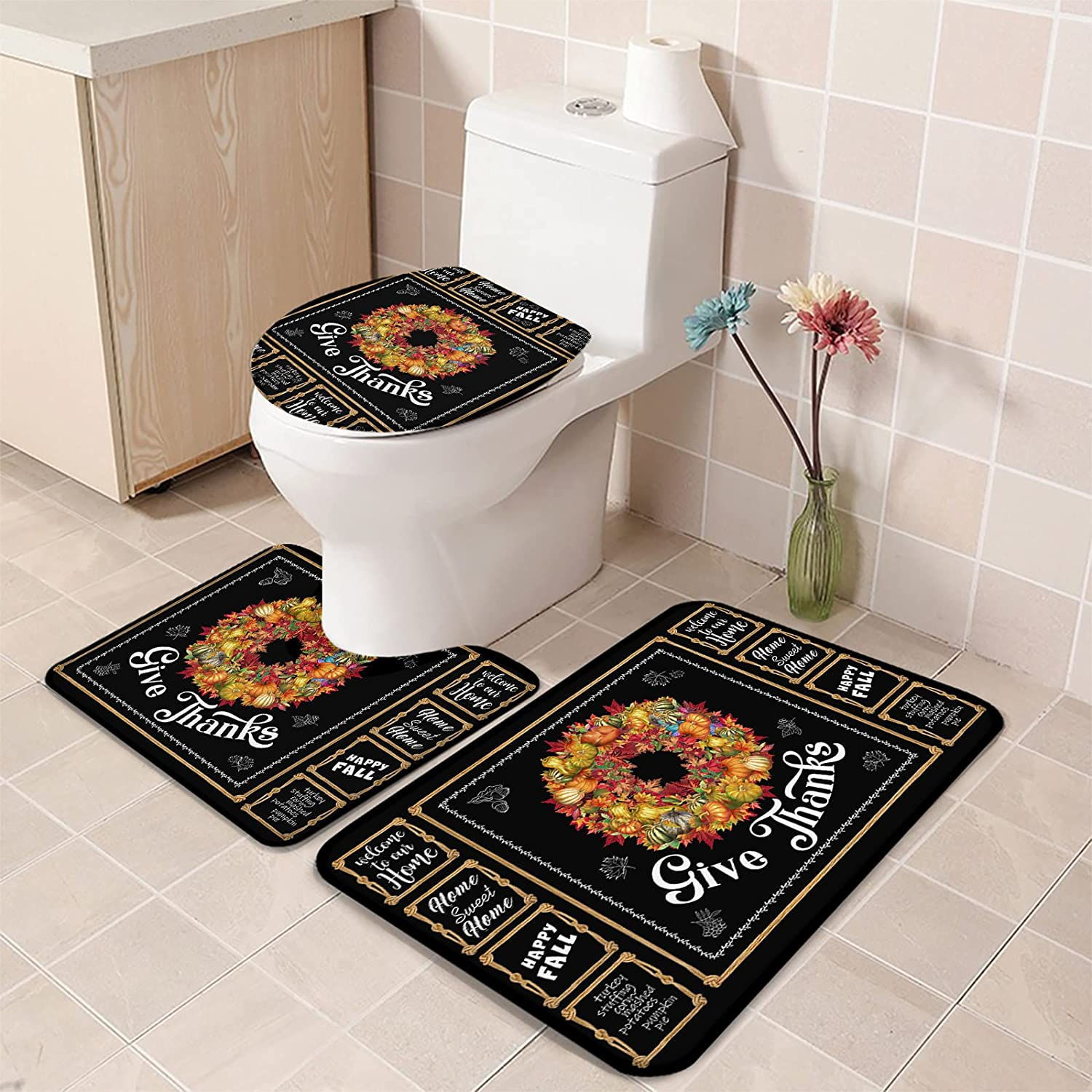 3 Piece Bathroom Rugs and Mats Thanks Aut Ranking 1 year warranty TOP18 Set Gives Thanksgiving