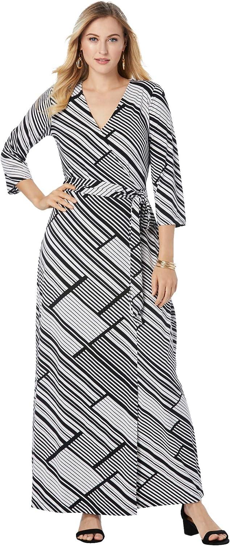 Jessica London Women's Plus Size Faux Wrap Maxi Dress