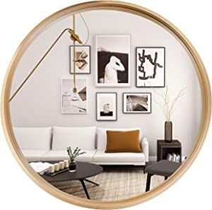 Round Hanging Mirrors Wall Decor - Vanity Mounted Wall Mirror with Metal Frame for Contemporary Accent Rooms (32