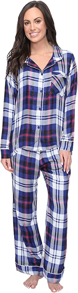 Ultra Soft Long Sleeve Woven Plaid PJ Set