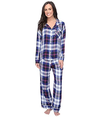 Plush Ultra Soft Long Sleeve Woven Plaid PJ Set (Navy Plaid) Women