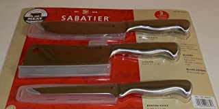 Sabatier 3 Piece Forged Japanese Stainless Steel Knife Set for Meat: Includes Cleaver, Boning and Butcher Knife