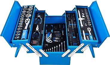 DeTec. Blue Edition klassieke metalen gereedschapskist gevuld met gereedschap - 86-delig assortiment - blauw