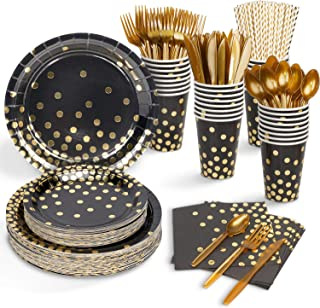 Decorlife Black and Gold Party Supplies for 50, 400PCS Birthday Plates and Napkin Set Adult, 12oz Cups, Party Plates, Uten...