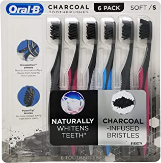 Oral-B Toothbrush Charcoal Infused CrossAction Bristles remove Plaque Stain Naturally Whitens Teeth (6 Pack) (Soft)