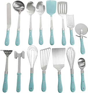 Pioneer Woman Frontier Teal Blue 15 Pc Set Kitchen Tool Stainless Steel Spoon Whisk Spatula Set