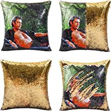 JASEN Funny Reversible Sequin Pillows Cover Jeff Decorative Pillow Cover Color Changing Cushion Throw Pillowcase 16x16