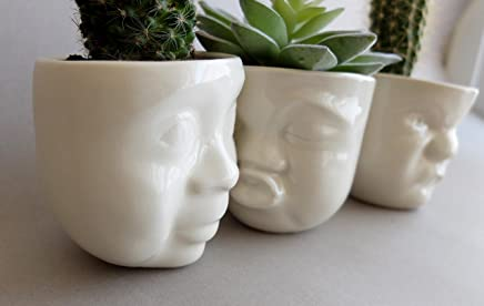 Modern Handmade Porcelain Funny Face Head Indoor Pot Planters Set Of 3 For Small Succulents And Cacti by SIND STUDIO
