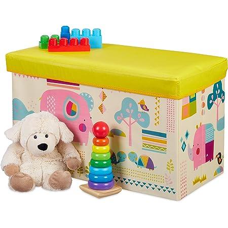 Relaxdays Tabouret Coffre boîte à Jouets Couvercle Pouf Enfant Pliable Rangement Fille garçon Animal 50L, Jaune, 36 x 60,5 x 30,5 cm