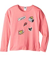 Karl Lagerfeld Kids - Long Sleeve Jersey Tee with Embossed/Patch Graphic (Little Kids)
