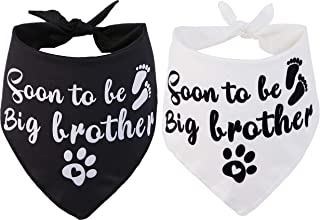 JPB Sooner to be Big Brother Dog Bandana,2 Pack Pet Baby Announcement Soft Scarf Gender Reveal Accessories