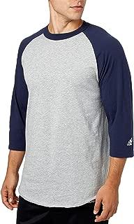 Men's Triple Stripe ¾ Sleeve Heather Baseball Shirt (Navy, L)