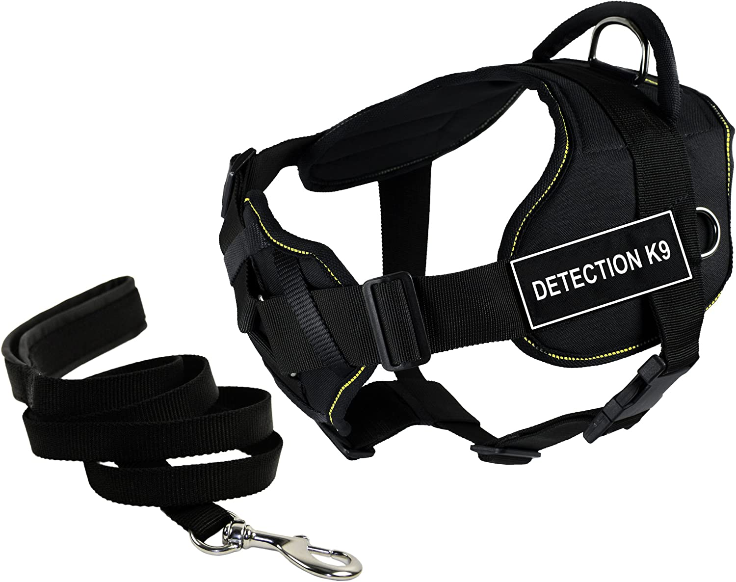 Dean & Tyler's DT Fun Chest Support DETECTION K9 Harness, Large, with 6 ft Padded Puppy Leash.