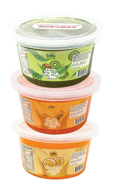 Fusion Select Bursting Popping Boba Pearls - Fruit Tea Snack Toppings Asmr Food (Kiwi, Mango, Passion Fruit)