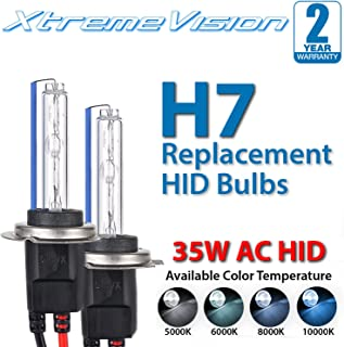 XtremeVision AC HID Xenon Replacement Bulbs - H7 5000K - Bright White (1 Pair) - 2 Year Warranty (Metal Base)