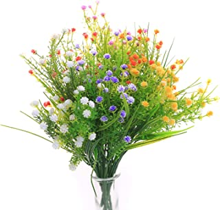 JAKY Global Artificial Flowers Gypsophila Babysbreath Fake Water Plants Bouquet 6 Bundle Fake Plants Wedding Bridle Bouquet Outdoor Home Office Christmas Decor(Mix Color)