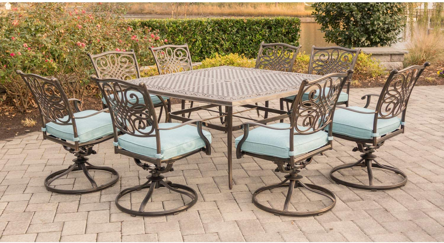 Hanover TRAD9PCSWSQ9 BLU 9 Piece Traditions Square Dining Set with 9 Swivel  Chairs and Large 9