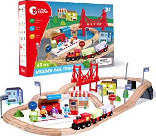 CUTE STONE 63 Pcs Wooden Train Set for Toddlers, Kids Tracks Set with Magnetic Train Cars, Bridge and Buildings, Play Figurines, Fits Thomas Brio Chuggington, Toy Gift for 3+ Yeas Old Boys and Girls
