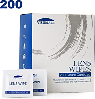 Lens Cleaning Wipes,Disposable, Quick Drying, Streak Free,Ndividually Wrapped, Cleansing Cloths Great for Eyeglasses, Tablets, Camera Lenses, Screens, Keyboards-Pack of 200