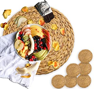 primebabe 6 Pack Woven Placemats,Round Water Hyacinth Weave Placemat Braided Rattan Tablemats 13""