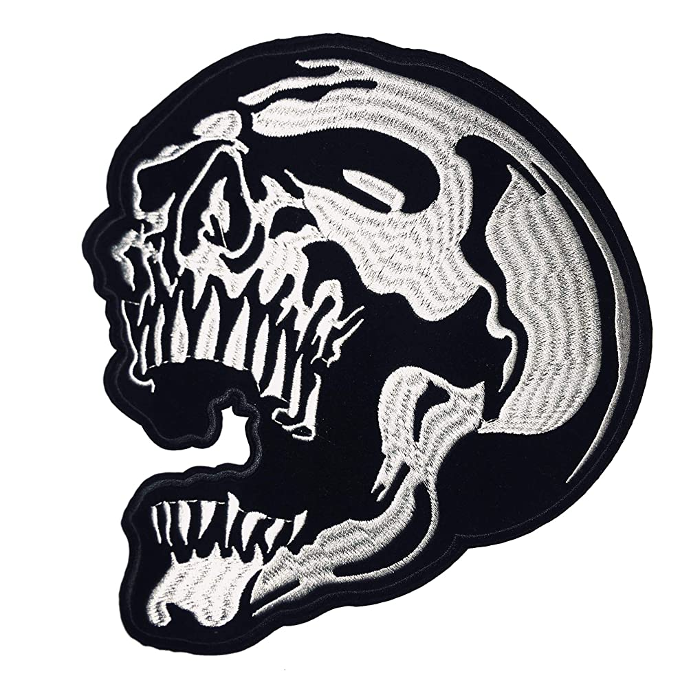 Large 9 inch Skull, Iron On Embroidered Patch