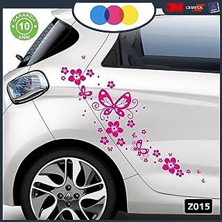 Pegatinas para Coche–Flores Y farfalle- Coche máquina–Novedad. Coche Moto Camper, Stickers, Decal Fucsia
