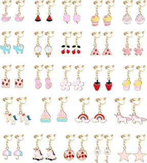 Hanpabum 24 Pairs Pink Clip On Earrings for Girls Women Unicorn Rainbow Multiple Cute Animals Fruits