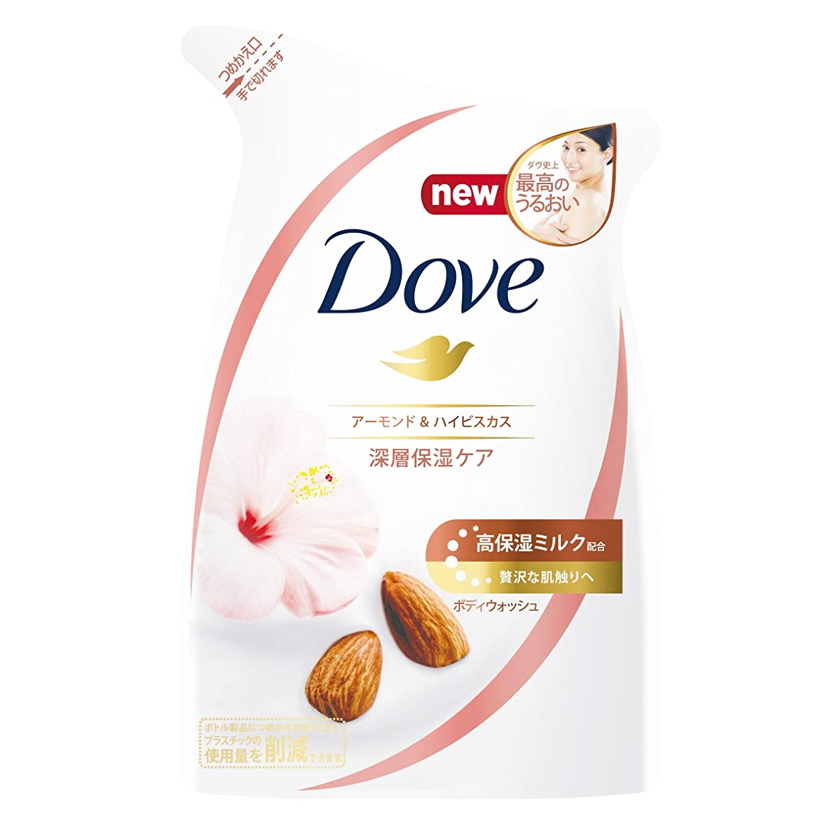 ブルーベル摂氏度吸収剤Dove ダヴ ボディウォッシュ アーモンド & ハイビスカス つめかえ用 340g
