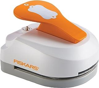 Fiskars Perforadora de etiquetas y ojetes 3 en 1- Etiqueta (5 x 7.5 cm) con 20 ojetes Acero de calidad/Plástico Blanco/Naranja 1016267