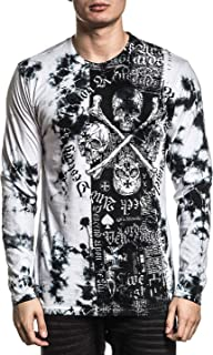 Affliction Men's Graphic Long Sleeve Shirt, Destroy LA Variant, Slim Fit Crew Neck