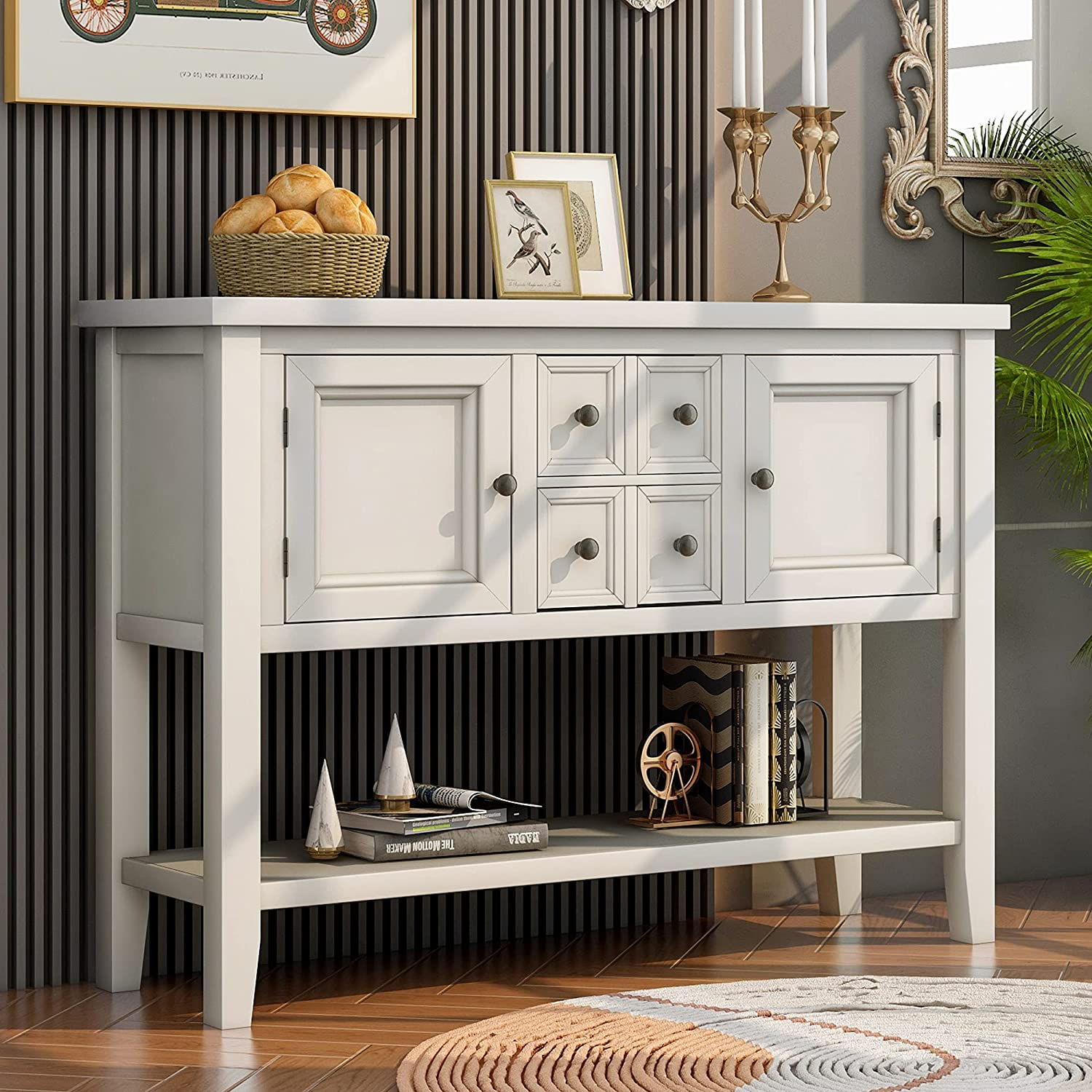 P PURLOVE Cheap SALE Start Console Table Large special price !! Buffet Four Sofa Sideboard with St