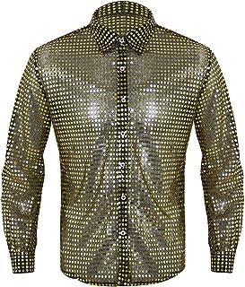 IEFIEL Men's Sparkle Sequins Disco Shirt Long Sleeves Dance Costume Party Clubwear
