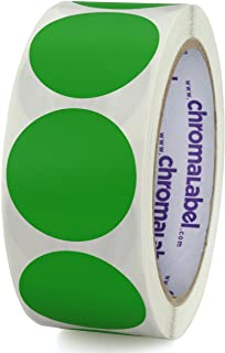 ChromaLabel 1-1/2 Inch Round Permanent Color-Code Dot Stickers, 500 per Roll, Green